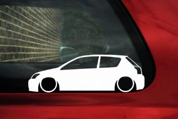 2x Low car outline stickers - Toyota e120 Corolla T-Sport / Compressor TS